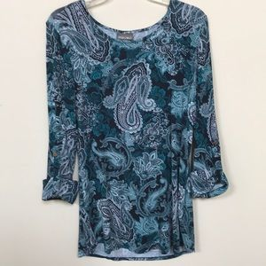 Roz&Ali teal and blue tones paisley print top